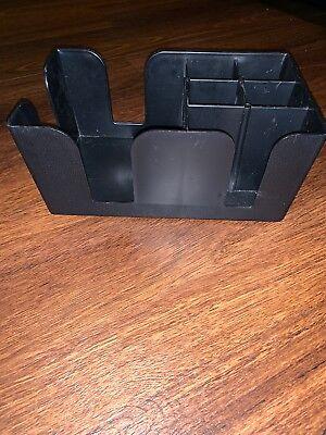 Bar Caddy Organizer Plastic Holder Straws Napkin Compartments Accessories Black