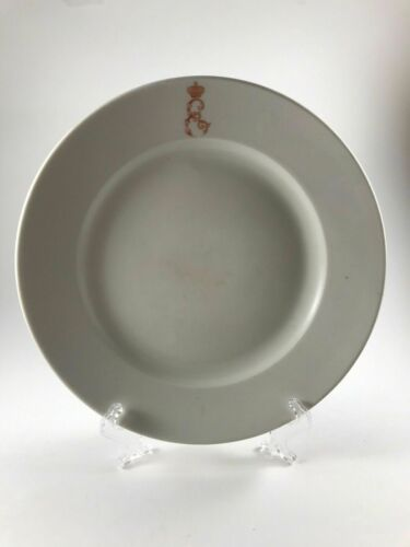 Antique Russian Imperial porcelain regimental plate from the Kuznetsov factory.