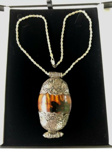 Victorian Sterling Silver Baltic Amber Chased Etched Necklace with Appraisal