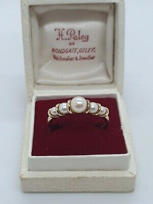 VINTAGE 9ct Gold Pearl Ring Size T