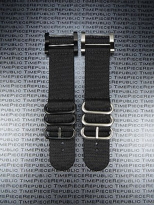 2 Piece Watch Set (Suunto Core 2-Piece Nylon Diver Strap 3 Ring Watch Band Lugs Adapter Set Black )