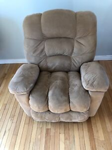Suede reclining/rocking chair