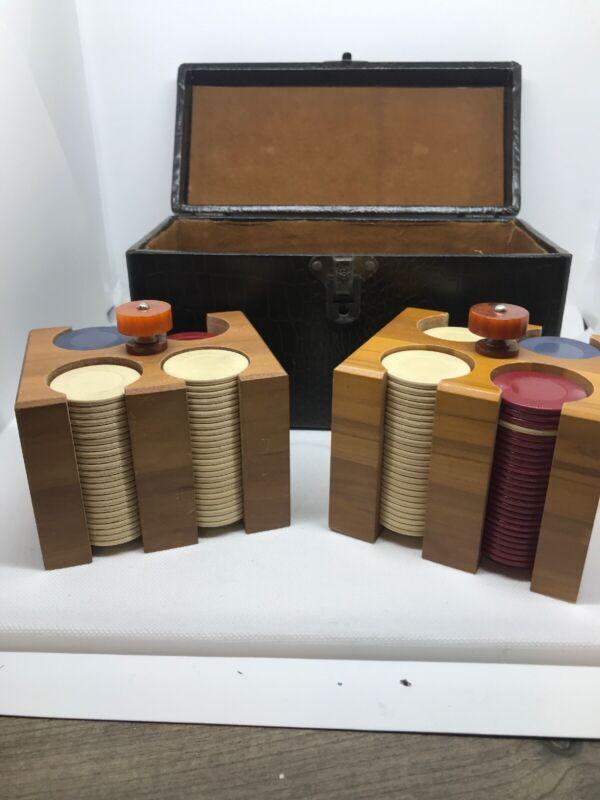 VINTAGE Poker Chips Langenau Cleveland Case Faux Alligator Wood/bakelite Holder