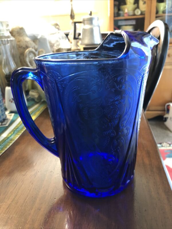 Hazel Atlas Royal Lace Cobalt Blue 48 oz Pitcher Ice Lip~ True Treasure Find