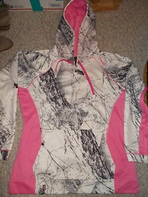 GAMEHIDE Naked North Camo Hoodie Sweatshirt PINK & WHITE L WOMENS