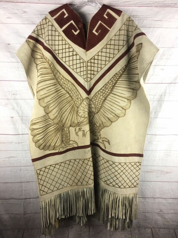 Vintage Native American Style Poncho Fringe Burnt Suede Leather Eagle