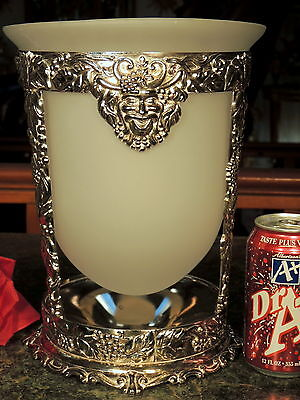 UNIQUE OPAQUE Glass Vase in INTRICATE Silver Plated Holder SATYR FACE Tag ITALY!