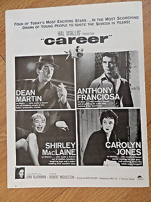 1959 Movie Ad  Career  Dean Martin Anthony Franciosa Shirley MacLaine C Jones