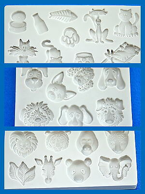 Mold Mould  for sugarcraft, Sugar Cake, Clay - Cute Animal set (3pcs)