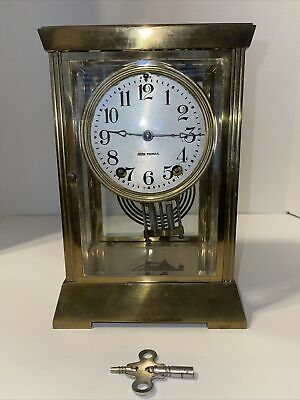 Antique Seth Thomas Mantle Clock Brass Beveled Glass 8 Day; Hour & 1/2 H Chime