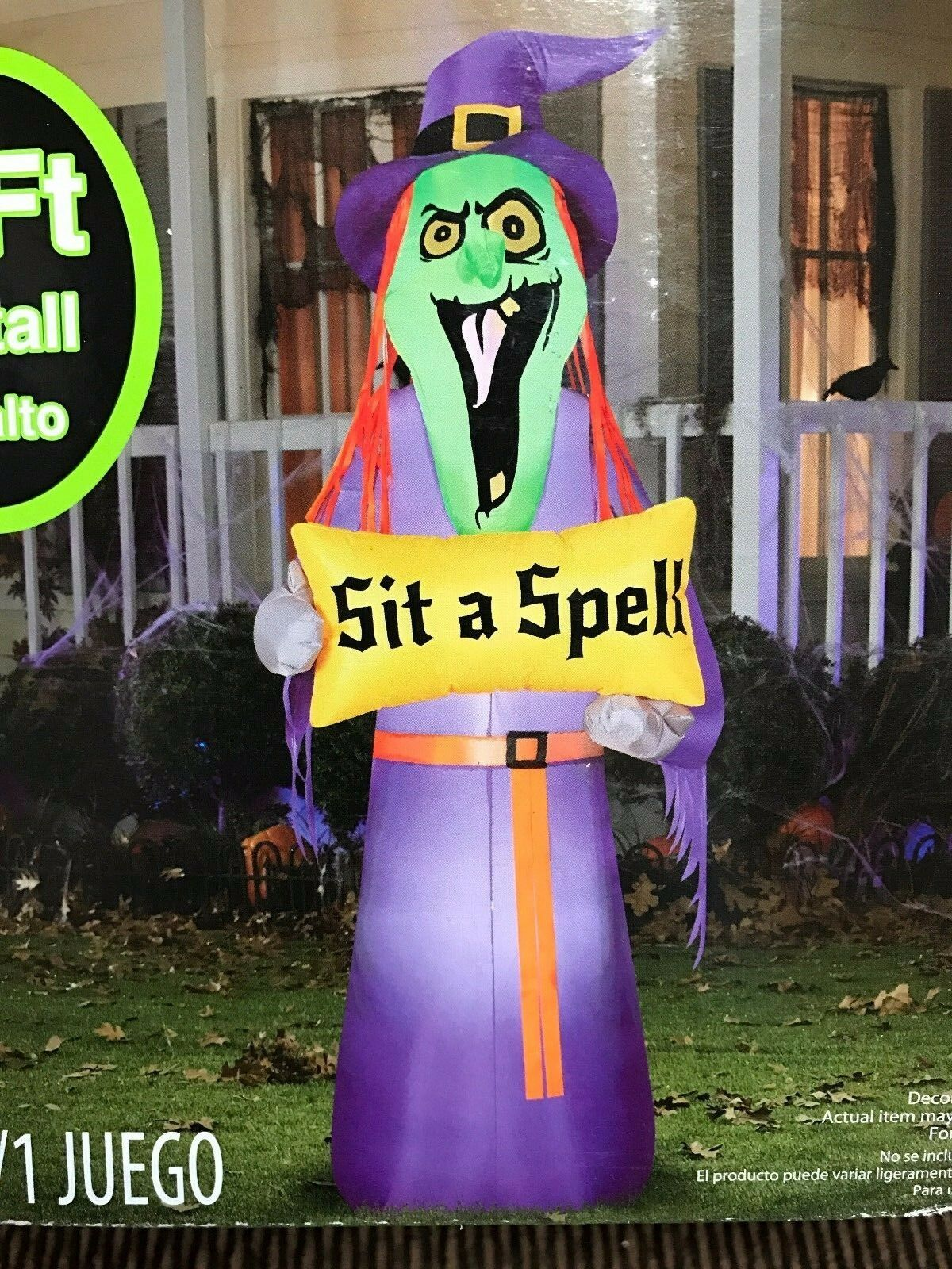 """""""Christmas 7' Gemmy Lighted """"""""sit A Spell"""""""" Airblown/inflatable Yard Decoration"""""""