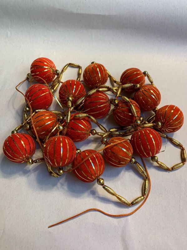"Vintage Christmas Mercury Glass Gold Beads W/ Red Styrofoam Balls Garland 92"" #J"