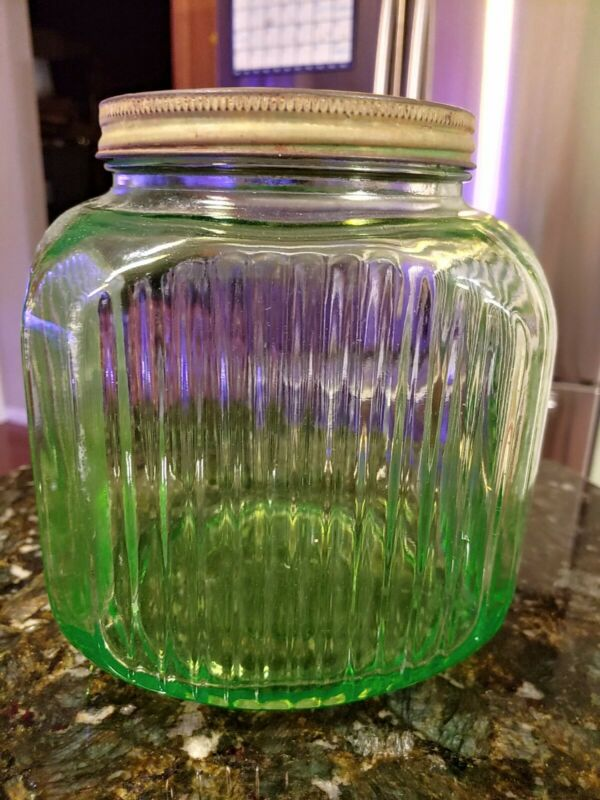 Vintage Anchor Hocking Green Depression Glass Coffee Canister Hoosier Jar Ribbed