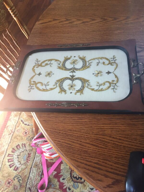 Vtg/Antique Wood Serving Tray With Handles~embroidery Gold Threads art Deco
