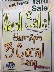 YARD SALE 3 Coral Lane 8am-2pm