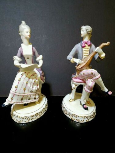 Hollohaza Vintage 2 Set Figurines  Women With Music Sheet and Man With Guitar