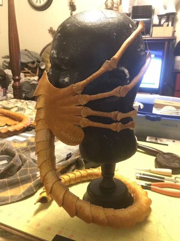 Hand Crafted Leather Alien Face Hugger Mask, Pattern By LeatherHub