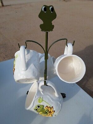VINTAGE NEIL THE FROG SEARS 4 MUGS AND TREE HOLDER SET-5 PIECES