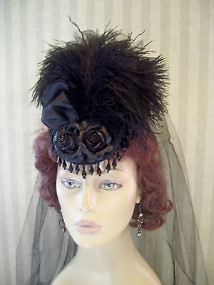 Black Victorian Mini Riding Hat, 1800s Style Hat Steampunk Hat, Civil War Hat