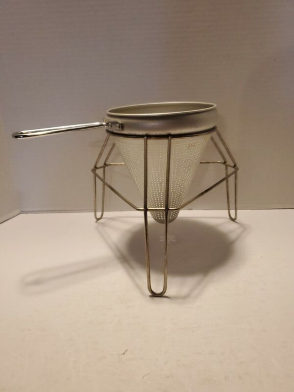 Vintage Aluminum Canning Colander Cone Strainer Ricer with Stand
