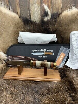 Randall Model 26 Pathfinder Knife With Stag Handles Leather Sheath Mint Pouch