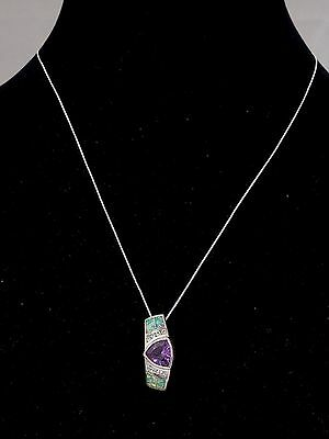 Gorgeous Southwestern Sterling Silver Amethyst-Opal Necklace
