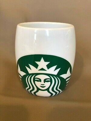 Starbucks White Barrel Mug with Green Mermaid Logo 14oz Made in 2010 (Green Barrel Mug)