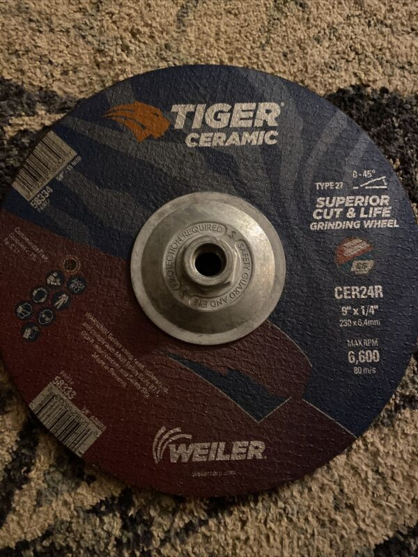 9 X 1/4 TIGER CERAMIC T27 GRINDING CER24R 5/8-11 58334  - Lot Of 5
