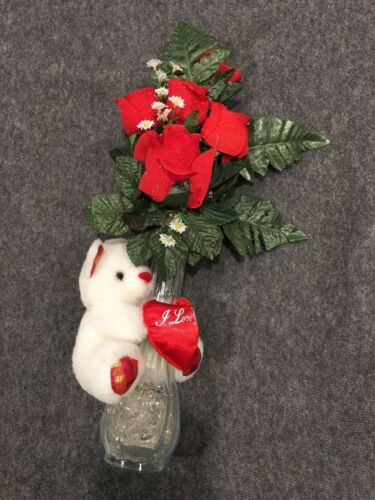 Valentines Day Bud Vase with Roses and I Love You Teddy Bear