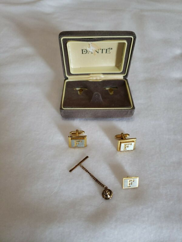 F Initial Monogram Letter Font Name Vintage Dante Cuff Links Tie Tack set boxed
