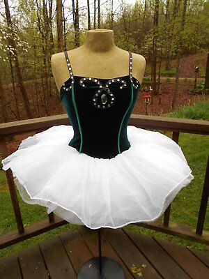 Black Swan Style Velevet Costume Dance Dress Leotard w/ Tutu Skirt size M - 8](Black Swan Costumes)