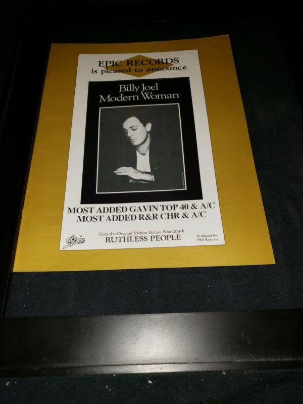 Billy Joel Modern Woman Rare Original Radio Promo Ad Framed!
