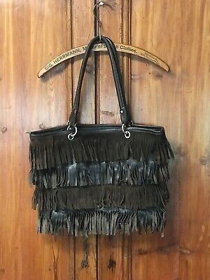 Innue Glazed Nero Brown Leather Fringe Trim Convertible Tote Bag Made in Italy