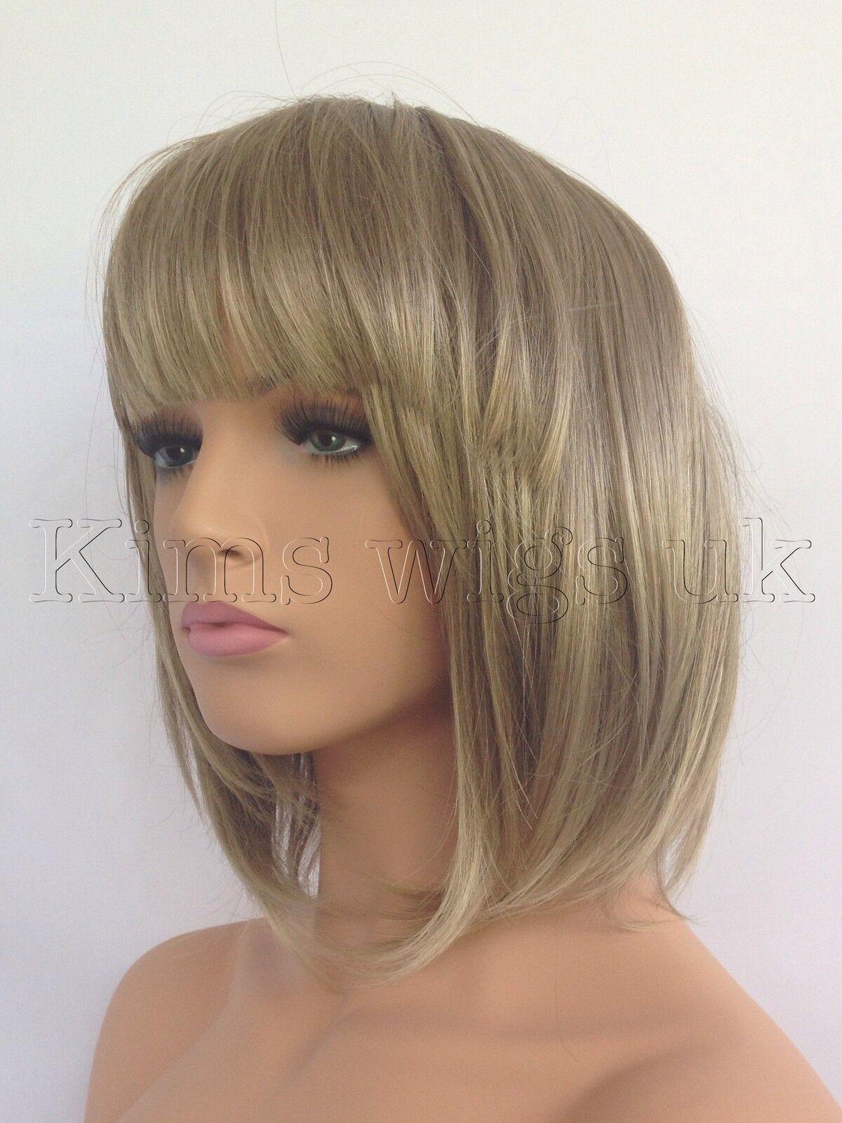New Ladies Womens Light Brown Blonde Mix Short Bob Style