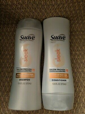 Suave Professionals Sleek Shampoo & Conditioner For Dry &Frizzy Hair 12.6 (Shampoo And Conditioner For Dry And Frizzy Hair)