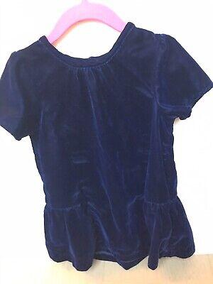 H&M Navy Blue Velvet Holiday Fancy Dress Girls Size 2-3T