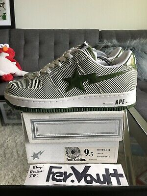 A Bathing Ape Bape Green Pinstripe Sz 9.5 Shoes camo bapesta kanye Roadsta Sta