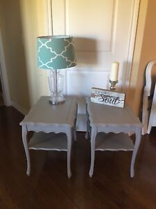Pair of soft grey French Provincial side tables