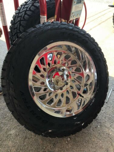 """20x12 Cali Offroad Polished 9108 Switchback Toyo 35"""" Rt Package 8x170 Ford F250"""