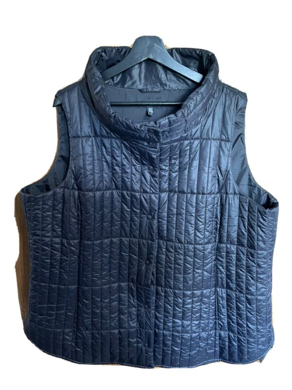 eileen fisher 2x recycled quilted vest black plus size vest