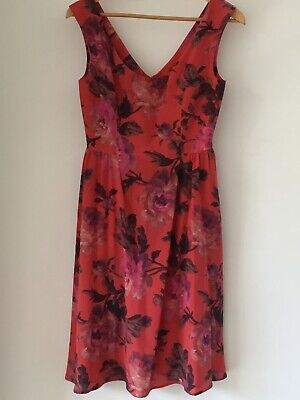 House of Hackney red pink silk roses party dress UK size 8 10