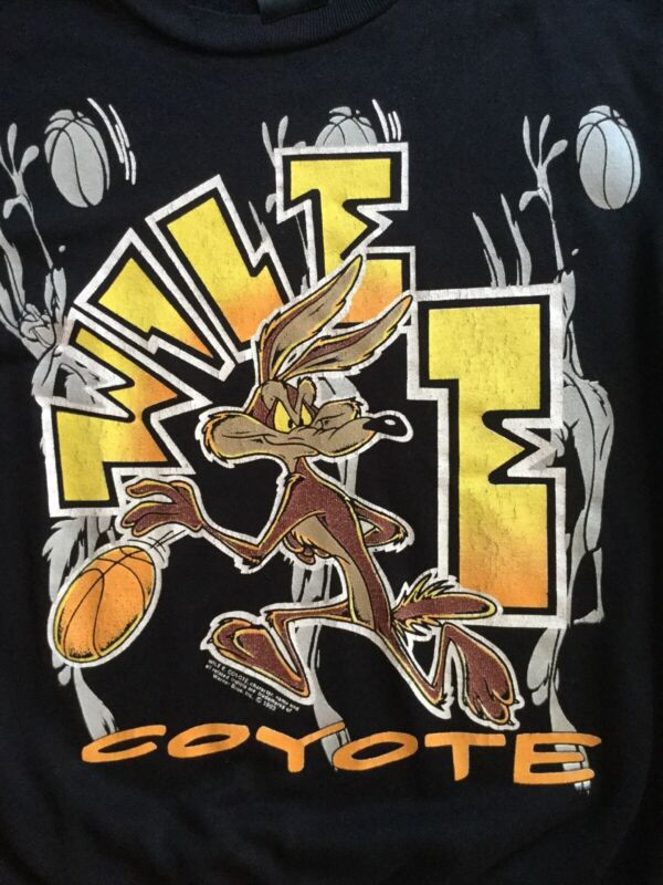 Vtg 90s WILE E COYOTE Basketball Warner Bros. Black Lightweight Sweatshirt Youth