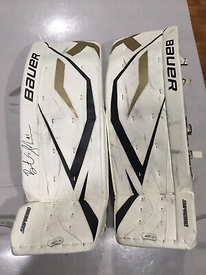 f5b777ee746 Bauer Supreme Pittsburgh Penguins Game Worn Used Pro Return Goalie Leg Pads  36.5