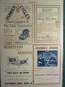1900 VICTORIAN PRINT ~ ADVERTISEMENT ~ HUMBER CYCLES HEAL SON BEDDING ...