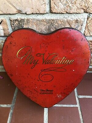 """Vintage Mrs Stevens Valentines Candy 9"""" Tin Holiday Decor Empty Antique Old"""