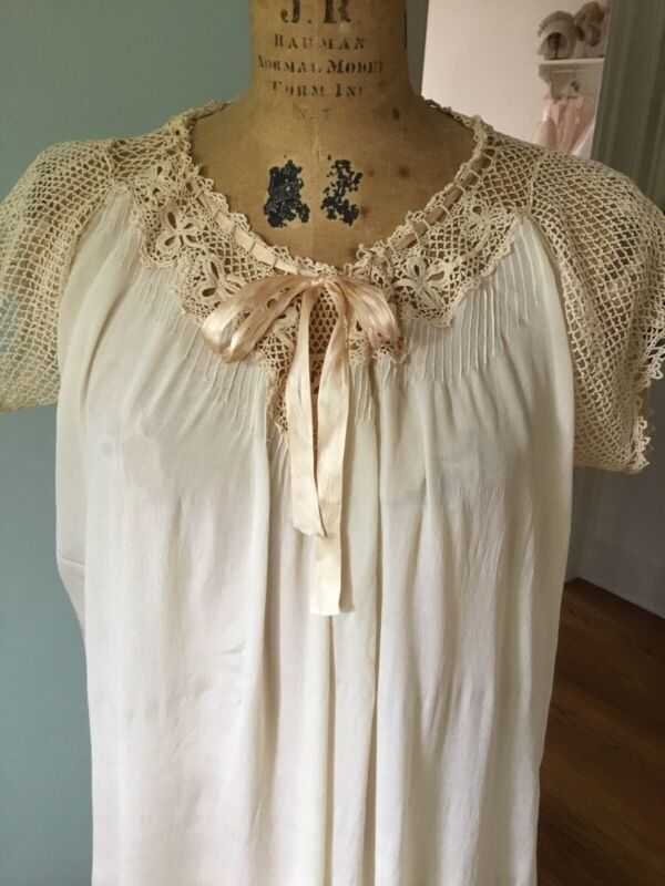 Vtg. Victorian Silk Night Sleeping Gown Crochet Ribbon Trim Very Good Condition