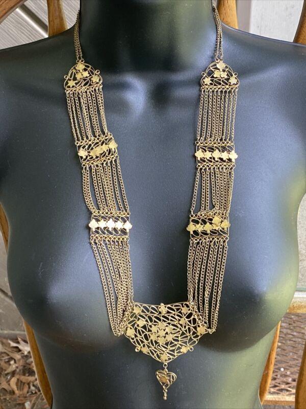 Antqe Gold Brass Multi Chain Link Festoon Necklace leaves Stars Adorn w/ Dangler