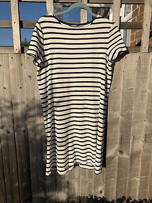 Iris & Ink Striped Navy White Dress Size 10 T-shirt Jersey Cotton
