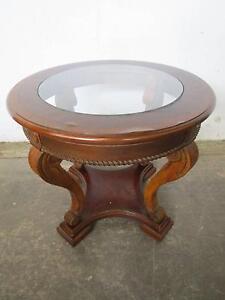 D7066 Vintage Walnut Round Centre Table w/ Glass Top Mount Barker Mount Barker Area Preview