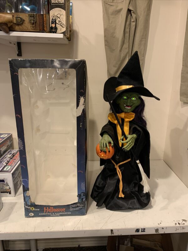 Halloween WITCH TIME Animated Vintage Witch Motionette 1989 Original Box WORKS